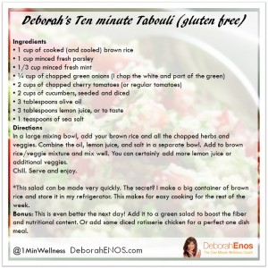 10 minute tabouli recipe from Deborah Enos Health and Wellness Spokesperson