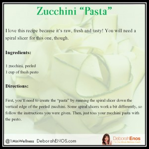 Deborah Enos Zucchini Pasta with Pesto Recipe