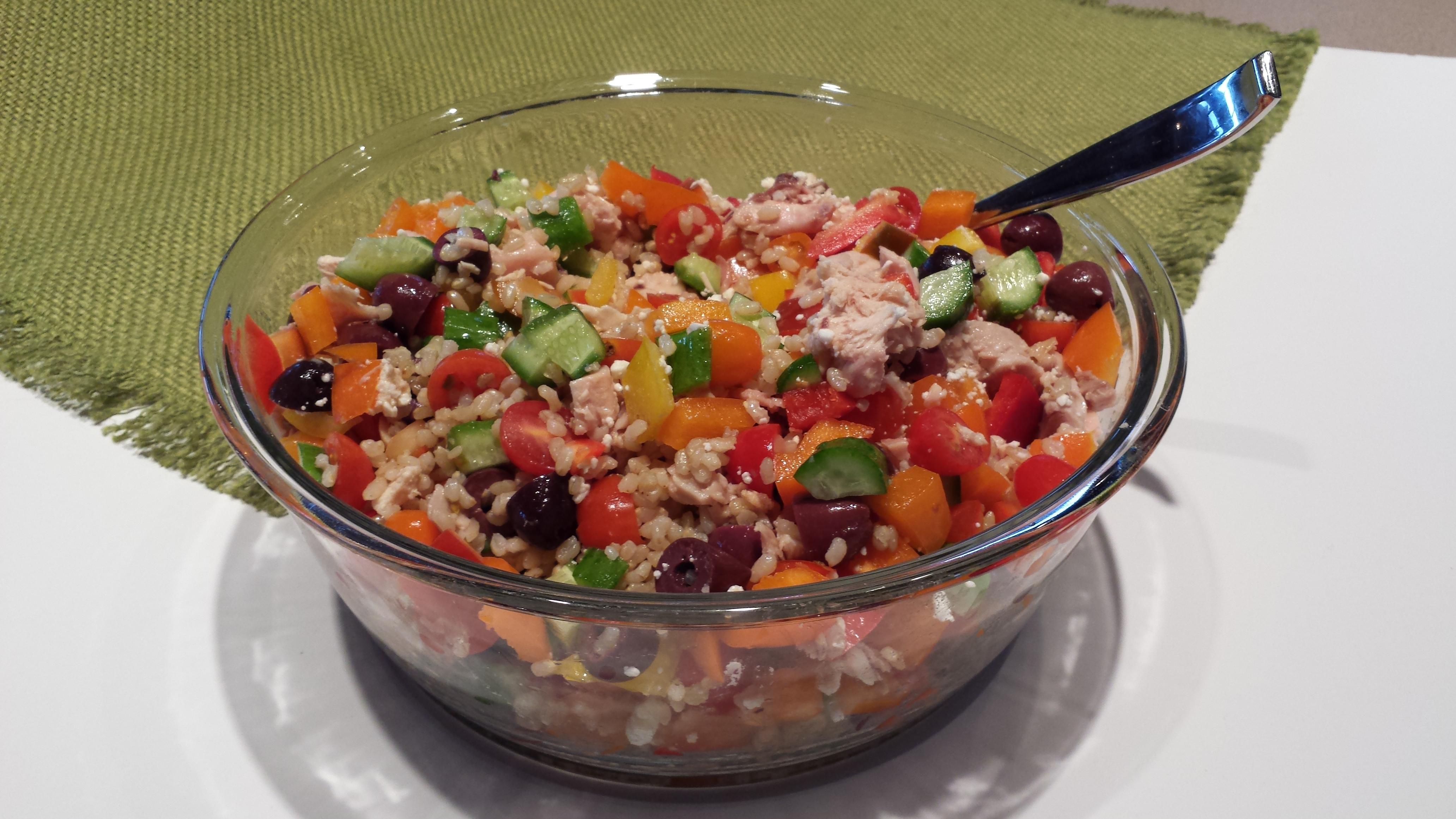 Greek Brown Rice Salad Recipe by Deborah Enos One Minute Wellness Coach